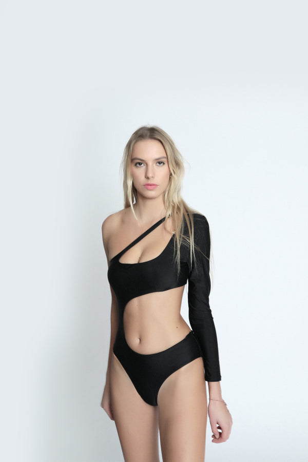 One-shouldered stretch jersey swimsuit front view