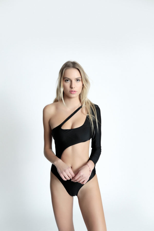One-shouldered stretch jersey swimsuit black color front view