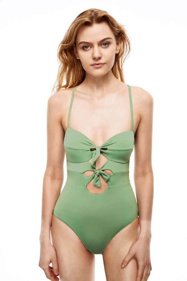 Manhattan double bow-tie front one-piece swimsuit green color front view
