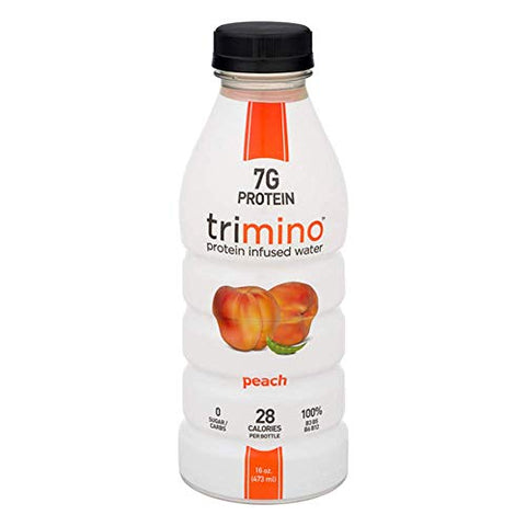 Trimino Protein Infused Water, Peach, 16 Ounce (Pack of 12)