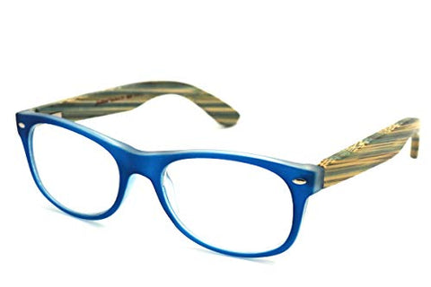 NEW ColorViper Real Tree Bamboo wood Temples Reading Glasses (2985 matte blue/wood temple, 2.00)