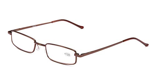 SOOLALA Lightweight Compact Reader Reading Glasses Reader w/Pen Clip Tube Case, Brown, 3.0D