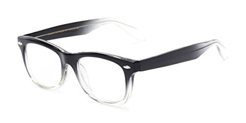 Readers.com Reading Glasses: The Skye Reader, Plastic Retro Square Style for Men and Women - Black/Clear Fade, 1.25
