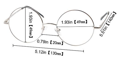 SOOLALA Cool Retro Round Metal Frame Spring Hinged Reading Glasses for men and Women, Silver,+1.5D