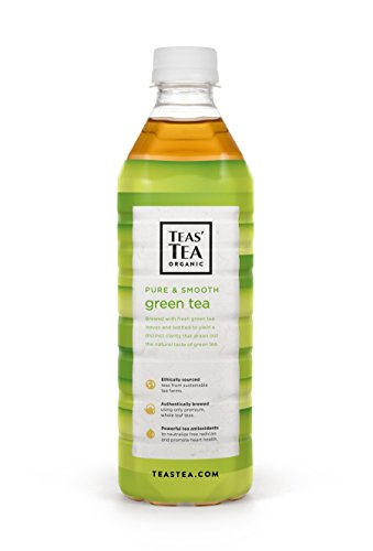 Teas' Tea Organic Iced Tea, Unsweetened Pure Green Tea, 16.9 Fl Oz Bottles, Pack Of 12