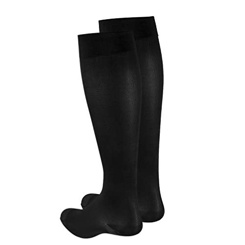Truform Women's Compression Stockings, 20-30 mmHg, Knee High Length, Closed Toe, Opaque, Black, Large