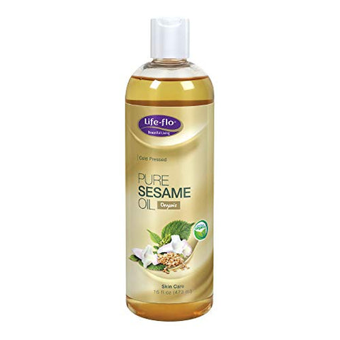 Life-Flo Pure Sesame Oil | Organic, Cold Pressed, Food Grade & No Hexane | For Skin, Face, Body & Massage Therapy | 16 fl. Oz.