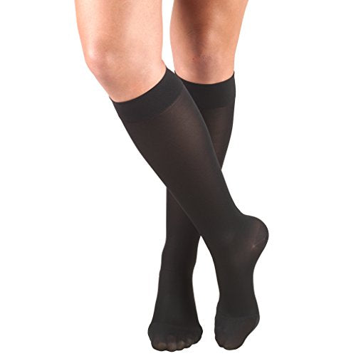 Truform Women's Compression Stockings, 15-20 mmHg, Knee High Length, Closed Toe, Opaque, Black, X-Large