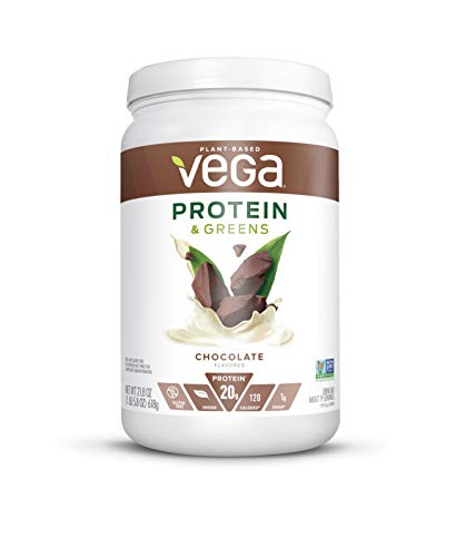 Vega Protein and Greens, Chocolate, Plant Based Protein Powder Plus Veggies - Vegan Protein Powder, Keto-Friendly, Vegetarian, Gluten Free, Soy Free, Dairy Free, Lactose Free (19 Servings, 1lb 5.8oz)