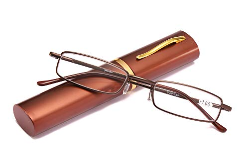 SOOLALA Lightweight Compact Reader Reading Glasses Reader w/Pen Clip Tube Case, BlackBrown, 2.0D