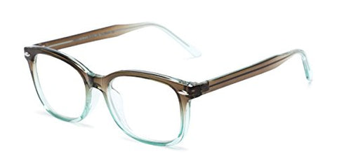 Readers.com Reading Glasses: The Jupiter Reader, Plastic Retro Square Style for Men and Women - Brown/Turquoise Blue Fade, 1.50