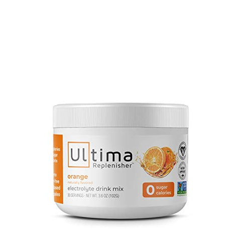 Ultima Replenisher Hydrating Electrolyte Powder, Orange, 30 Servings, Sugar-Free, no Carbs, no Calories, Keto, Gluten-Free, Non-GMO, Vegan