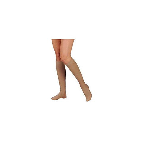 Juzo 3511ADPE5SB06 II Dynamic 20-30 mmHg Open Toe Knee High Firm Compression Stockings With 5 cm Silicone Border In Petite - White44; II - Small