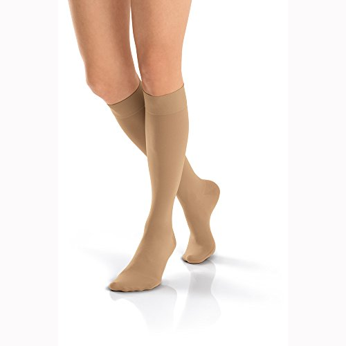 BSN Medical 115379 Jobst Opaque Compression Hose, Knee High, 20-30 mmHg, Closed Toe, Full Calf, X-Large, Natural