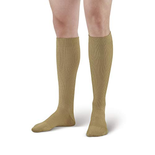 Ames Walker AW Style 111 Cotton Firm 20 30mmHg Knee High Socks Brown Large