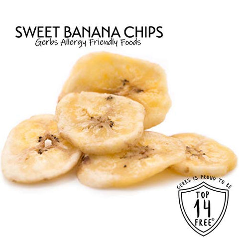 GERBS Sweetened Banana Chips, 32 ounce Bag, Unsulfured, Preservative, Top 14 Food Allergy Free