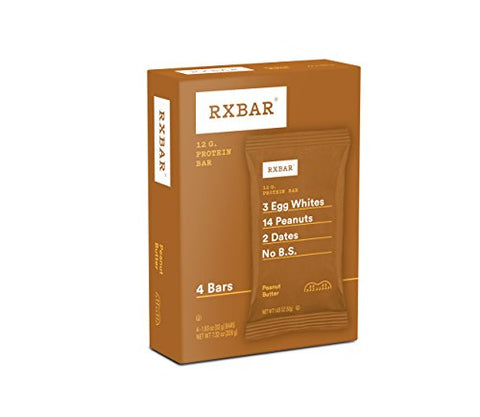 RXBAR Whole Food Protein Bar, Peanut Butter, 4 Count