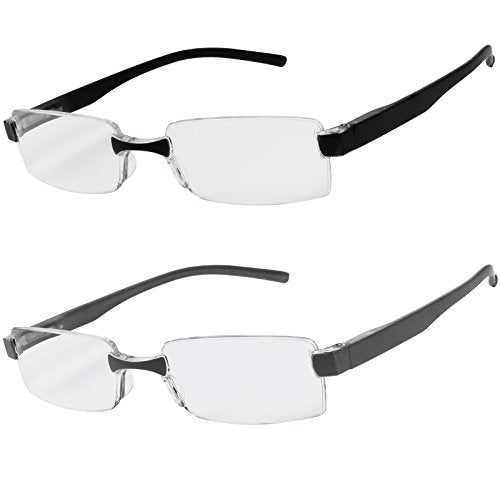 Reading Glasses Set of 2 Rimless Ultra Lightweight Comfort Glasses for Reading for Men and Women +2.75
