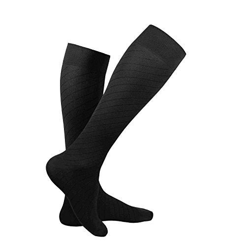 Truform Travel Compression Socks for Men and Women, 15-20 Knee High Over Calf Length, Black, Small