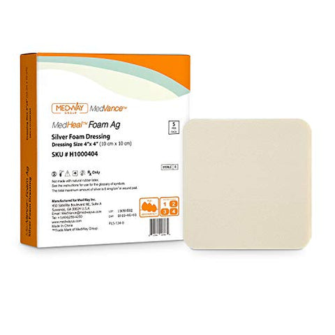 Silver Foam Ag Sterile Highly Absorbent Antibacterial Dressing w/o PU Backing, 4