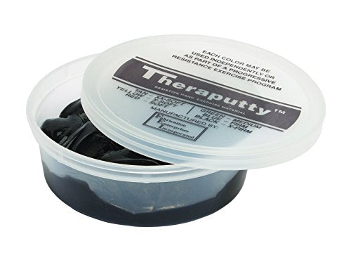 CanDo TheraPutty Standard Exercise Putty, Black: X-Firm, 4 oz