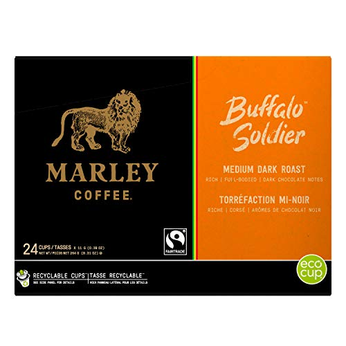 Marley Coffee Single Serve K-Cup Compatible Capsules, Buffalo Soldier, Medium-Dark Roast, 24 Count - Packaging may vary