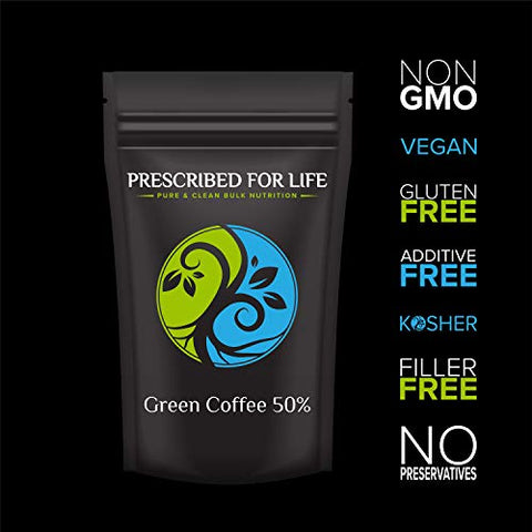 Prescribed for Life Green Coffee - 50% Chlorogenic Acid - Natural Robusta Bean Fruit Extract Powder (Coffea robusta), 1 kg