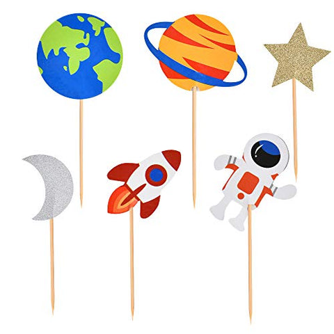 30 PCS Outer Space Cupcake Toppers Planet Party Supplies Birthday Decorations Rocket Astronaut Cupcake Decoration Outer Space Spaceship Themed Kids Children Party Supplies