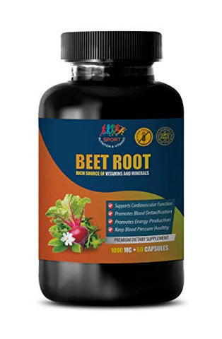 Brain Support Supplement - Beet Root 1000 MG - Premium Dietary Supplement - Beet Root Vitamins - 1 Bottle 60 Capsules