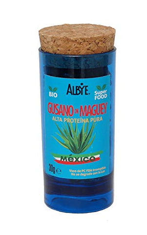 Maguey Worm, 60% Pure Protein, Cont.Nt. 1 oz, Combine it with Avocado, Salsa Mexicana & Tortilla. The Food of the Aztec Emperors!. Shipping to USA $4.58.