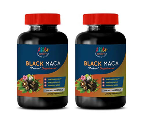 Energy Booster Supplements - Black MACA 1000 Mg - Dietary Supplement - maca Extract Capsules - 2 Bottles 180 Vegetable Capsules