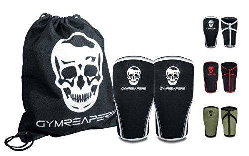 Gymreapers Knee Sleeves (1 Pair) Gym Bag - Knee Sleeve & Compression Brace for Squats, Weightlifting, Fitness, and Powerlifting 7MM Sleeve Pair - for Men & Women - 1 Year Warranty B/W X-Large