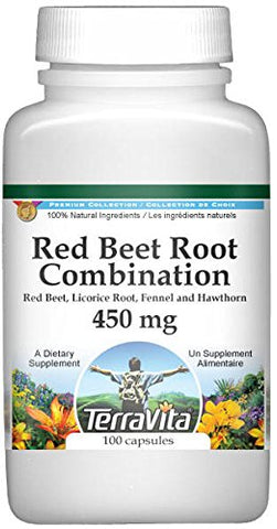Red Beet Root Combination - Red Beet, Licorice Root, Fennel and Hawthorn - 450 mg (100 Capsules, ZIN: 513688) - 3 Pack