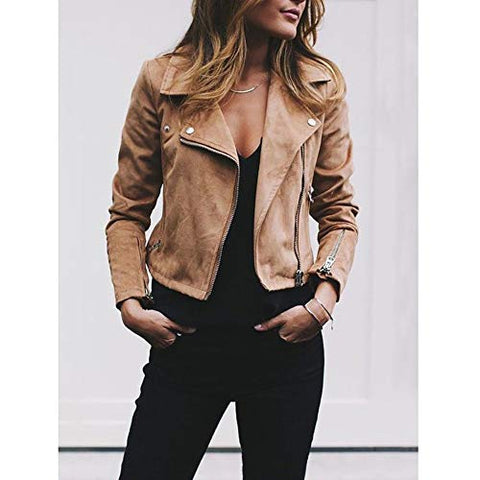 KYLEON Women's Jacket PU Faux Leather Lapel Zipper Moto Biker Jacket Vintage Slim Retro Rivet Short Jacket Parka Pea Coat