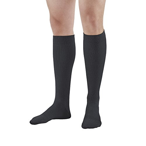 Ames Walker AW Style 111 Cotton Firm 20 30mmHg Knee High Socks Black Large