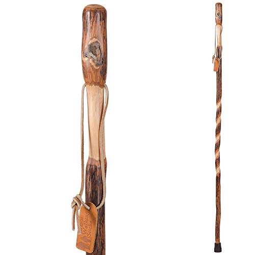 Brazos Trekking Pole Hiking Stick for Men and Women Handcrafted of Lightweight Wood and made in the USA,  Hickory,  48 Inches