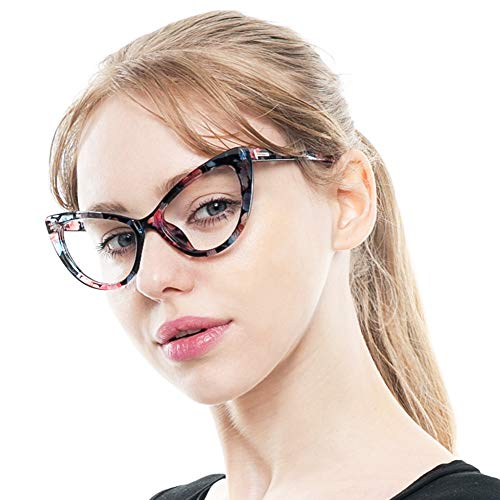 SOOLALA Womens Oversized Fashion Cat Eye Eyeglasses Frame Large Reading Glasses, LeoFloral, 1.5D