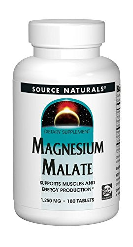 Source Naturals Magnesium Malate 1250 mg Per Serving Essential Magnesium Malic Acid Supplement - 180 Tablets