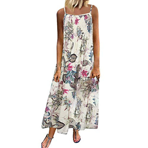 Bohemian Dresses for Women Plus Size Floral Print Vintage Long Maxi Dress