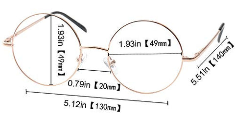 SOOLALA Cool Retro Round Metal Frame Spring Hinged Reading Glasses for men and Women, Gold, 2.0D