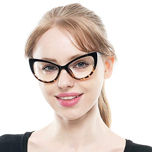 SOOLALA Womens Oversized Fashion Cat Eye Eyeglasses Frame Large Reading Glasses, LeoFloral, 2.25D