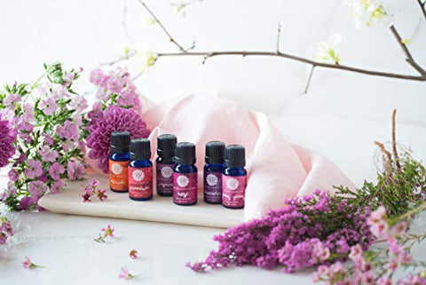 Woolzies Floral Essential Oil Set of 6 | 100% Pure, Natural & Undiluted Therapeutic Grade Oils |For Diffuser or Topical Use | Incl. Lavender, Rose, Jasmine, Ylang Ylang, Geranium & Neroli Oils | 10 ML