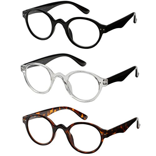 Reading Glasses 3 Pair Spring Hinge Professer Readers for Men and Women Fashion Glasses for Reading +1.5