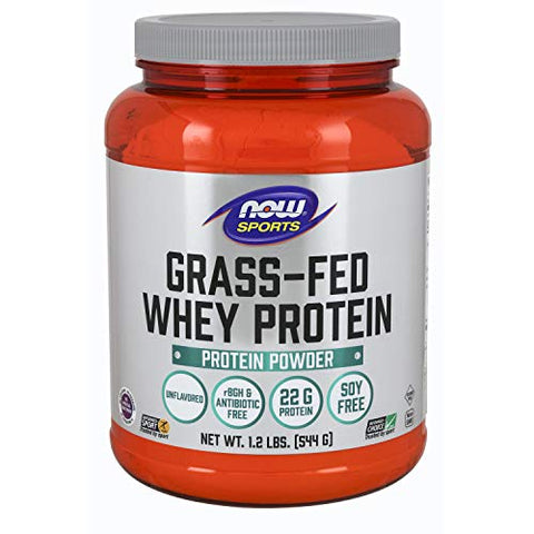 NOW Sports Nutrition, Grass-fed Whey Protein 22 Grams, Unflavored Powder, 1.2-Pound