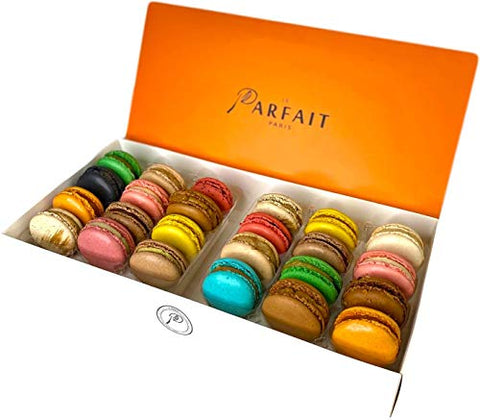 Le Parfait Paris Macaron Variety Pack - Heavenly Gourmet French Meringue-Based Dessert Set - Baked and Delivered Fresh - Delicious Luxury Gift, Party Favor, & Sweet Snack - Box of 24 Assorted Macarons