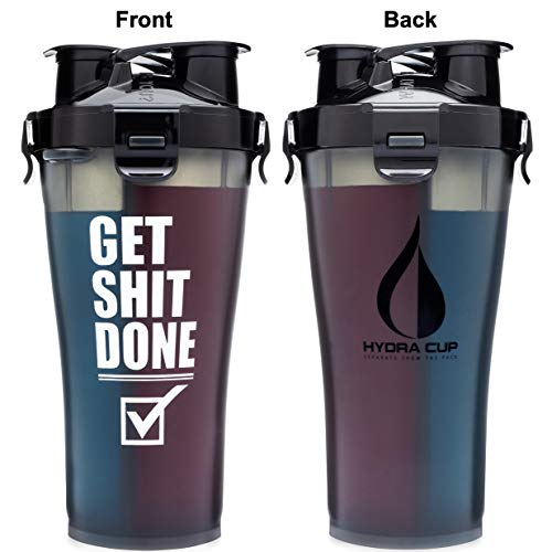 Hydra Cup - 36 oz High Performance Dual Shaker Bottle, 2 in 1, 14oz + 22oz, Leak Proof, Awesome Colors, Patented PRE + Protein Shaker Cup, Save Time & Be Prepared, Get It Done Black