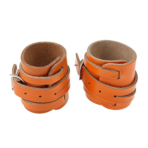 FENICAL 2pcs Wrist Wrap Support Braces for Weight Lifting Adjustable Leather Bracelet Wristband