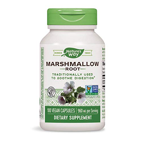 Nature's Way Premium Herbal Marshmallow Root, 960 mg per serving, 100 Capsules (Packaging May Vary)