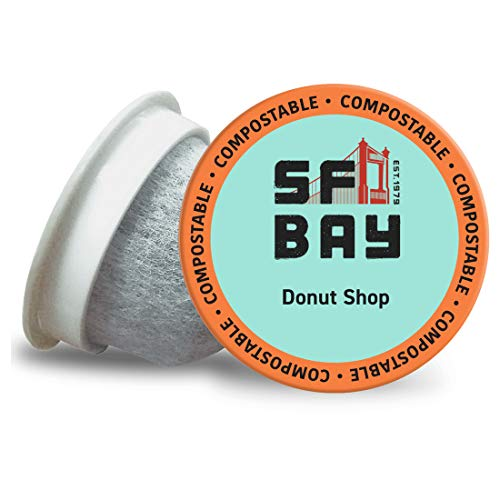 SF Bay Coffee Donut Shop 120 Ct Medium Roast Compostable Coffee Pods, K Cup Compatible including Keurig 2.0 (Packaging May Vary)