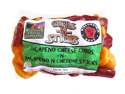 12oz. Jalapeno Cheese Curds N Jalapeno Cheddar Sticks Packs (2 Pack)